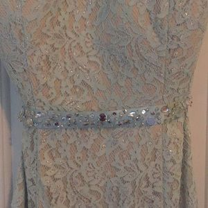 Baby blue all over lace prom dress